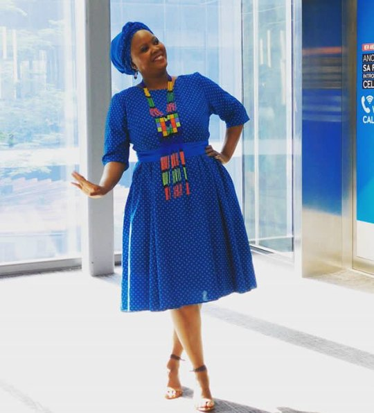 Blue Seshoeshoe Dress With Headwrap And Neck Piece