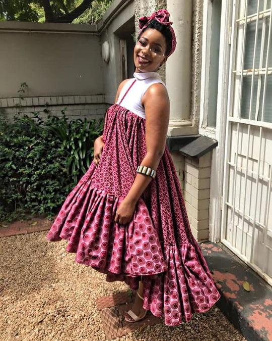 Vuyokazi Tshona In Dark Pink Sleeveless Shweshwe Dress