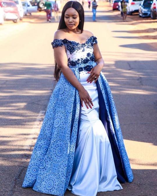 ac64b89ad14 Off Shoulder Shweshwe Inspired Wedding Dress