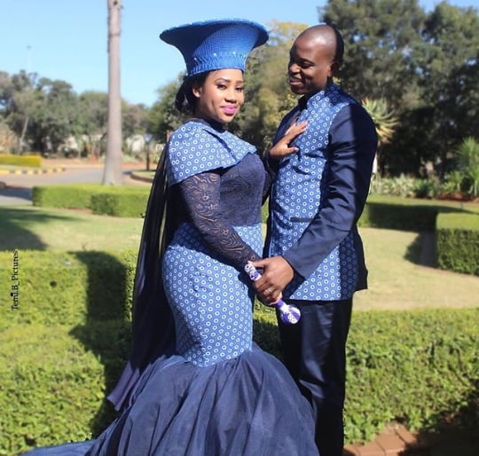 Tswana Couple In Shweshwe Wedding Outfits