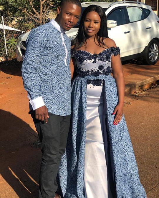 Tswana Couple In Shweshwe Traditional Wedding Attire