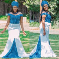 7fa892a9be5 Off Shoulder Shweshwe and White Wedding Dress With Doek
