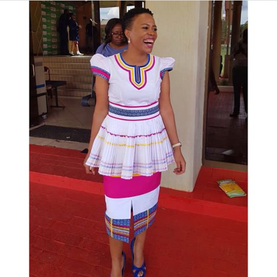 Well Tailored Sepedi Traditional Dress Mixed With Shweshwe