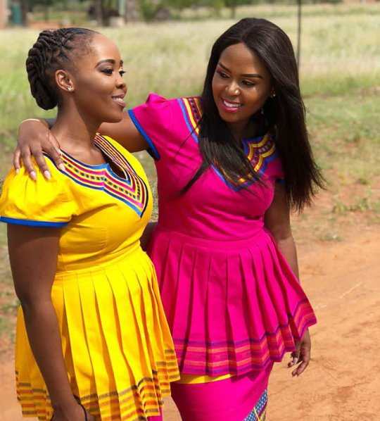Beautiful Yellow And Pink Sepedi Traditional Attire
