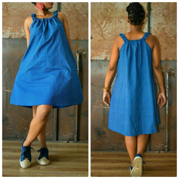 Blue Ready To Wear Shweshwe Dress With Sneakers
