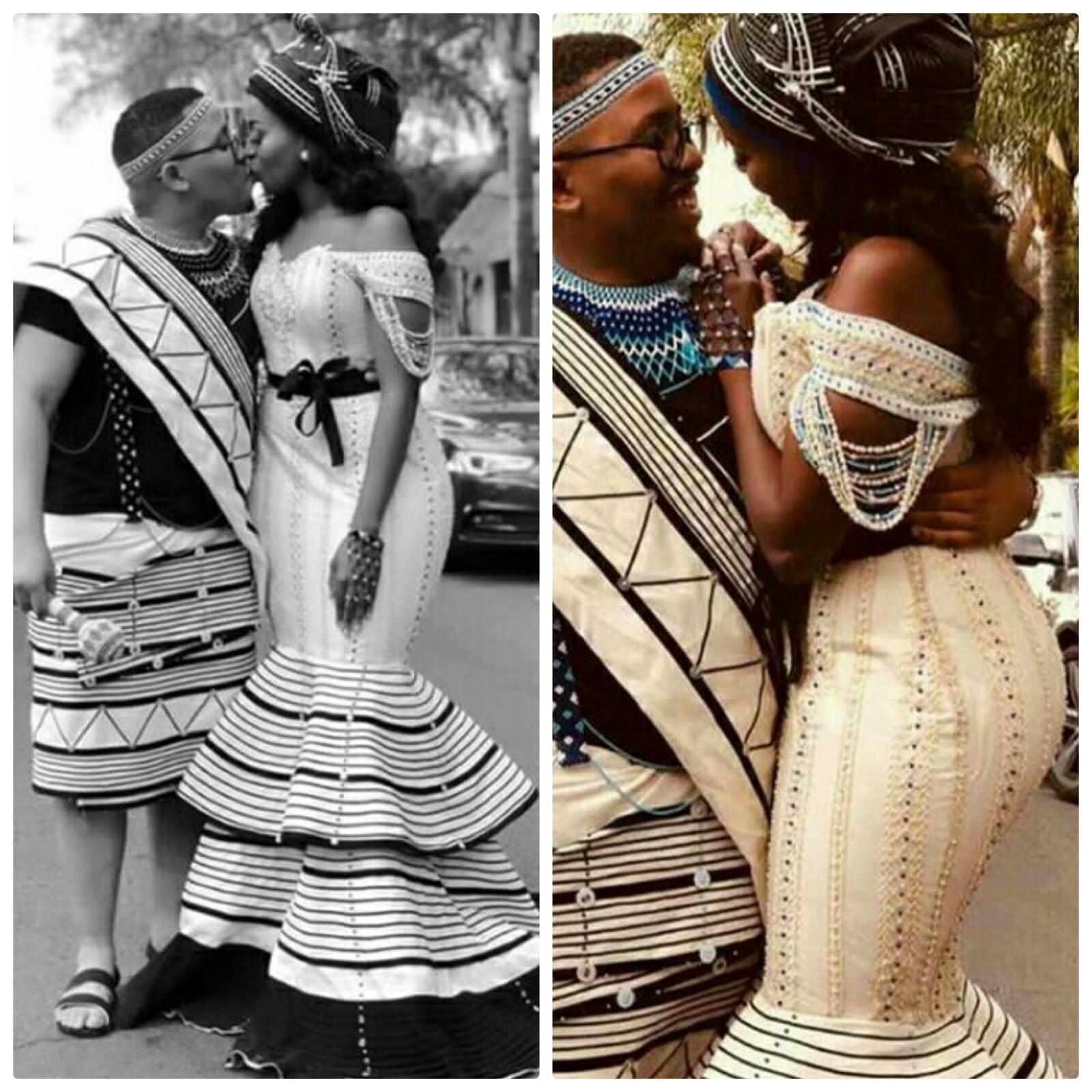 Xhosa Couple In Umbhaco Traditional Wedding Attire