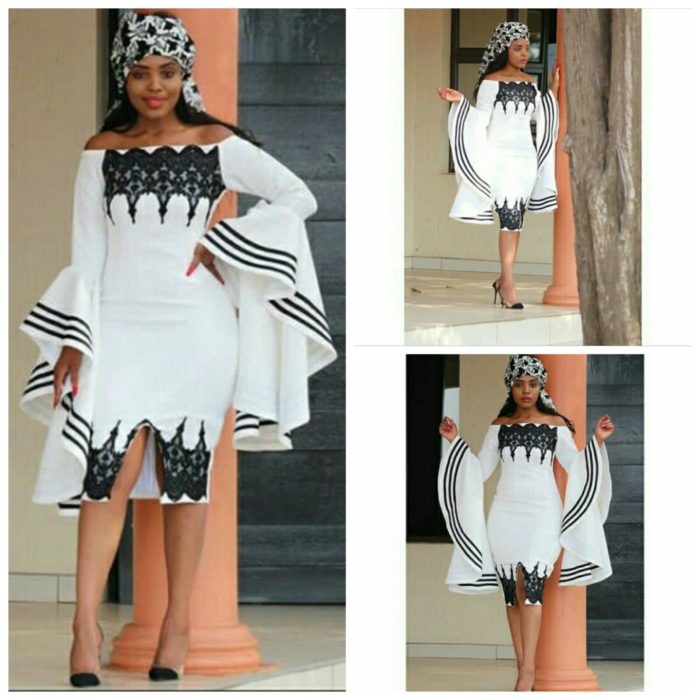 Off Shoulder Xhosa Inspired Dress With Exaggerated Sleeves