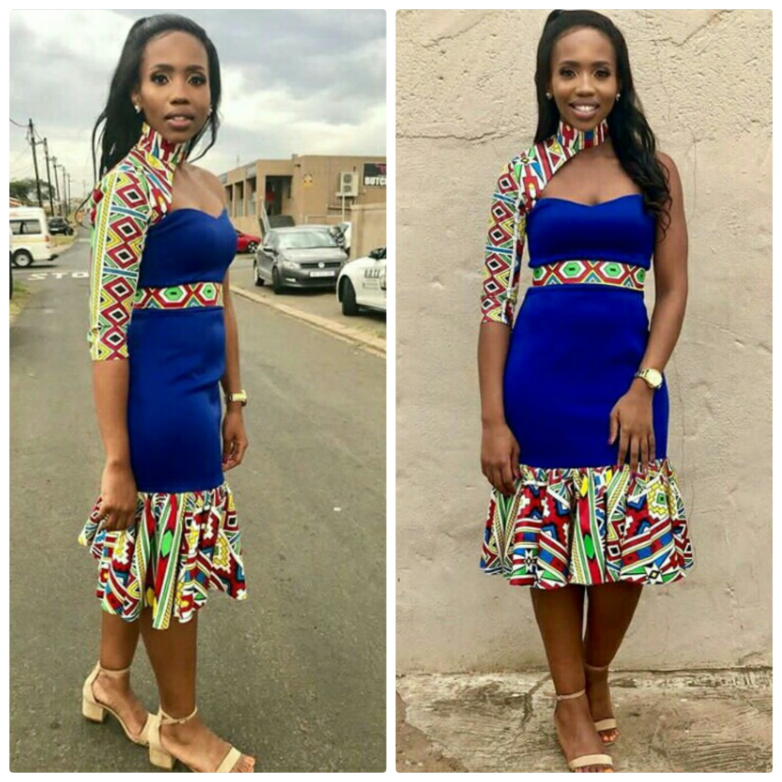 Lady In One Arm Blue Dress With Ndebele Print Mix