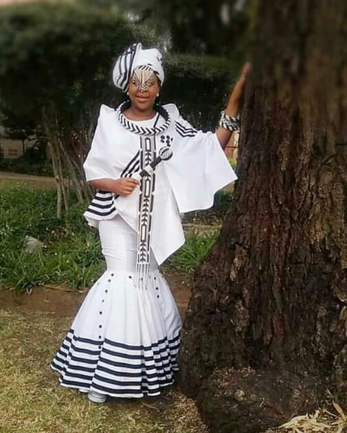 Bride In White & Black Xhosa Traditional Wedding Attire