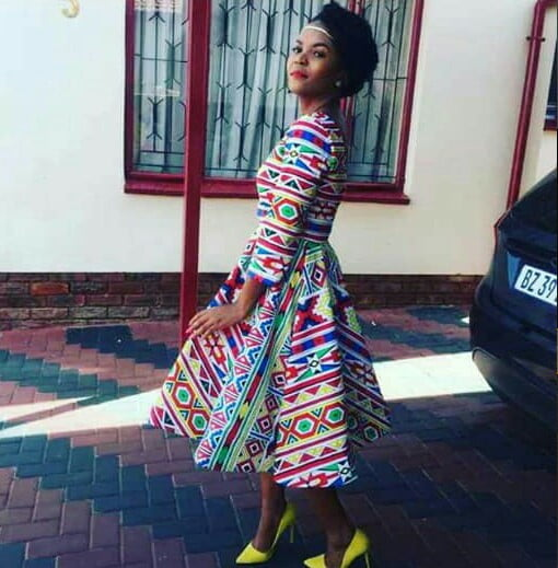 Ndebele Print Ready To Wear Dress With Yellow Shoes