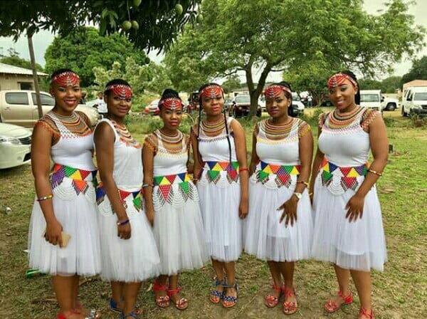 Zulu Bridesmaids In White Traditional Attire With