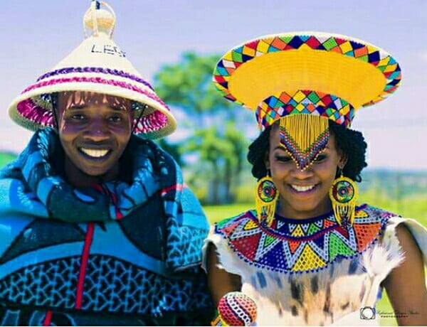 Zulu Bride And Sotho Groom In Traditional Wedding Attire