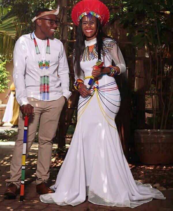 Couple In Modern Zulu Traditional Wedding Attire Clipkulture