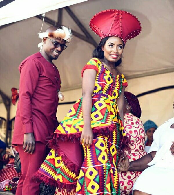 Zulu Bride In African Print Traditional Wedding Outfit