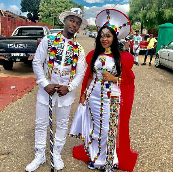 Couple In Modern Ndebele Traditional Wedding Outfit