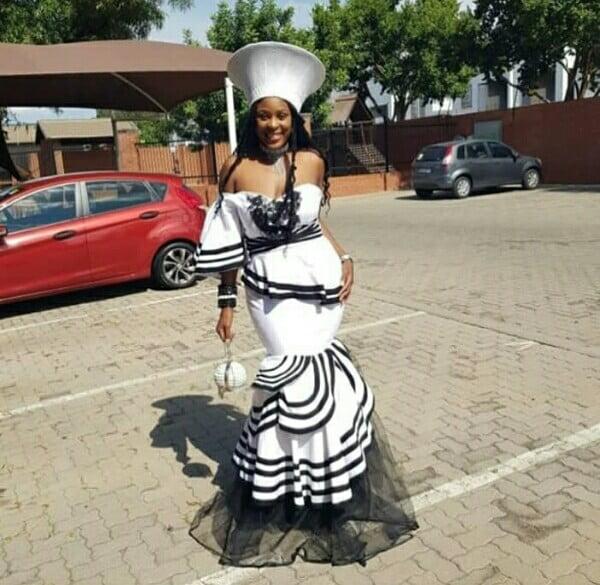 Bride In Strapless Black & White Xhosa Mermaid Traditional