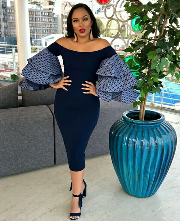 Abigail Visagie In Blue Off Shoulder Dress With Layered