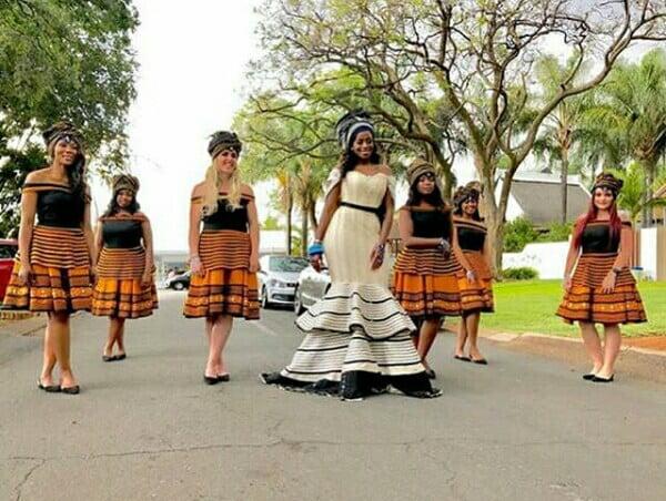 Xhosa Bride and Bridesmaids In Umbhaco Traditional Wedding