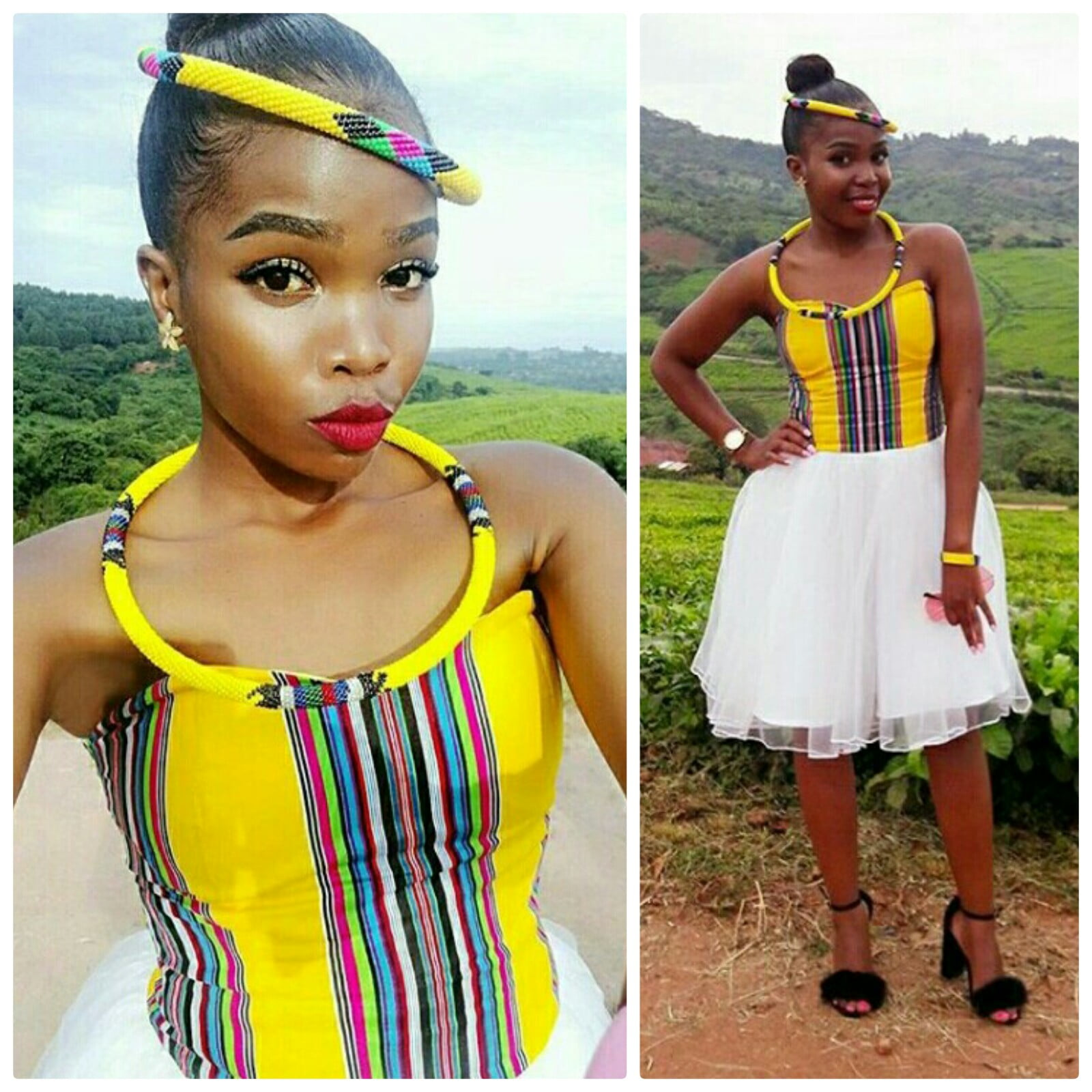 Corset Styled Venda Tulle Dress With Yellow Traditional