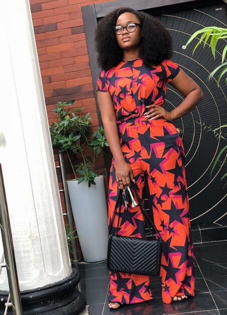 16d15ff4a57c48 Cynthia Nwadiora aka Cee-C in Red and Black Print Trousers and Top ...
