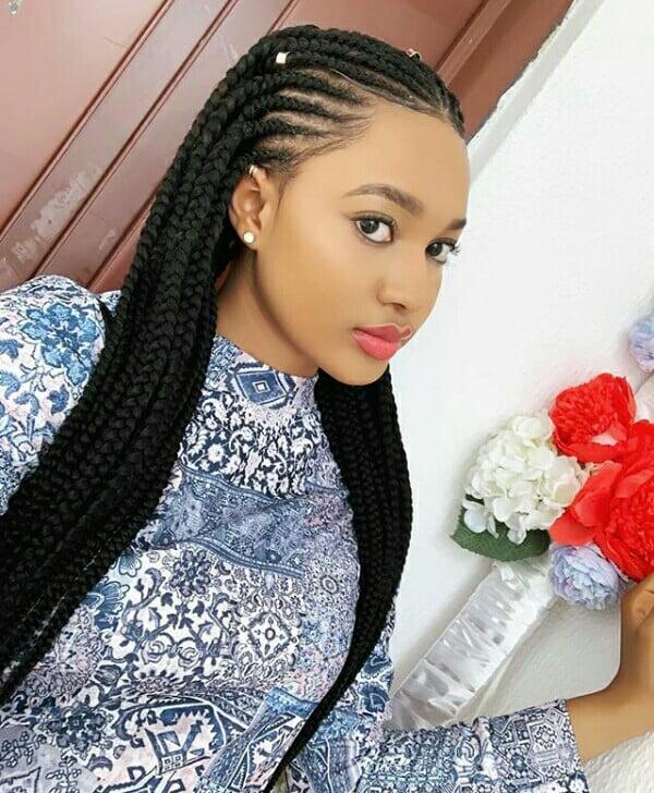 Kira Chaana In Lovely 2 Step All Back Ghana Weaving Hairstyle