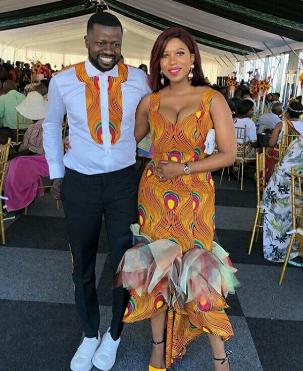 South African Couple In African Print Traditional Wedding Outfit Clipkulture
