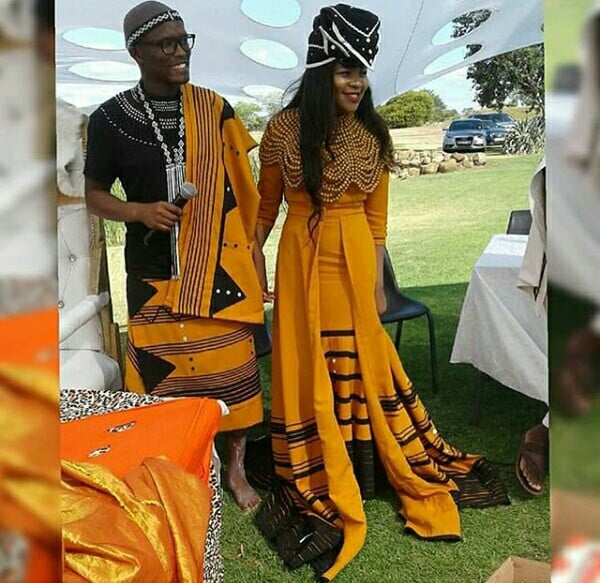 Couple In Orange And Black Xhosa Umbhaco Traditional