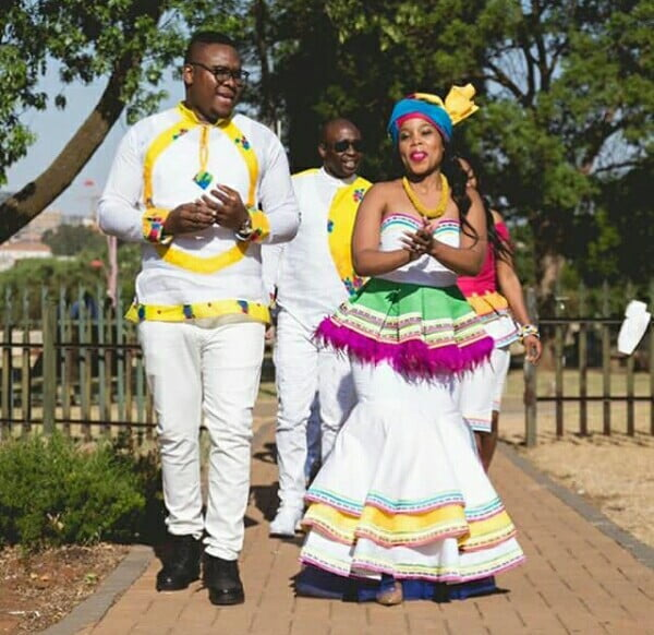 Couple In Modern Sepedi Traditional Wedding Outfit