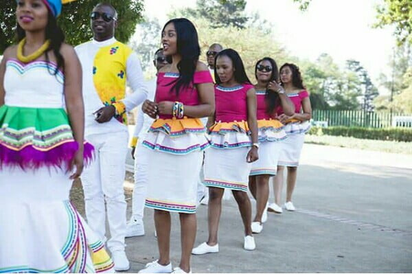 Couple With Bridesmaids In Sepedi Traditional Wedding