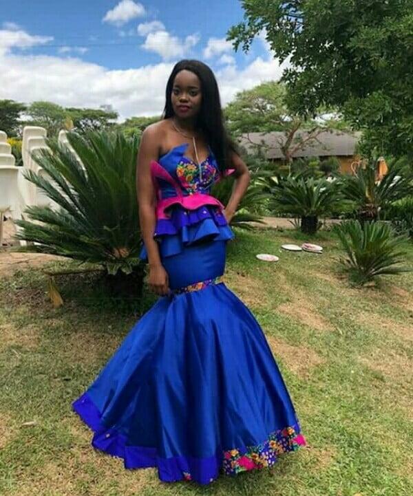 Celebrity Wedding Dresses 2019: Beautiful Blue Strapless Tsonga Traditional Wedding Dress