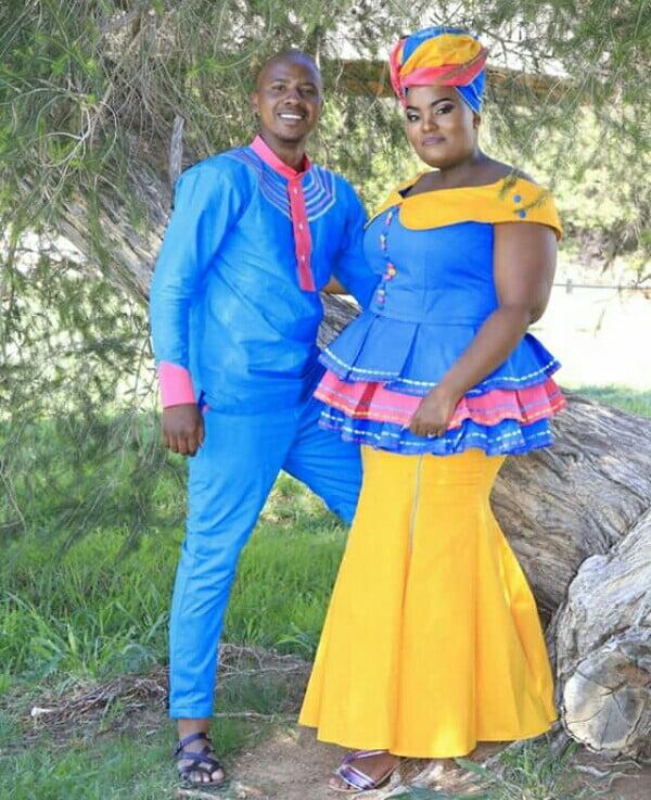 Couple In Sepedi Traditional Wedding Attire