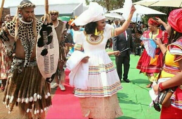Bride In White Sepedi Traditional Wedding Dress With Doek