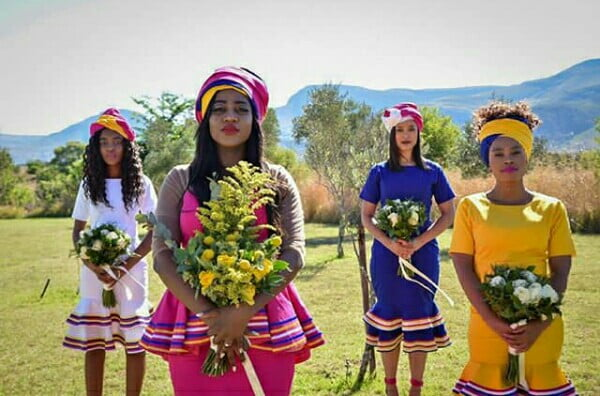 Bride And Bridesmaids In Modern Sepedi Traditional Wedding