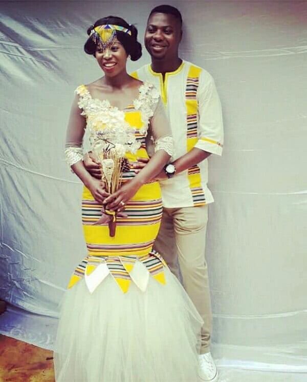 Venda Traditional Modern Dresses: Bride And Groom In Venda Traditional Wedding Attire