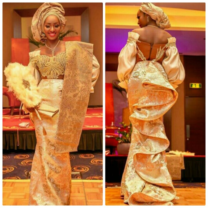 Yoruba Bride In Champagne Gold Traditional Engagement Dress