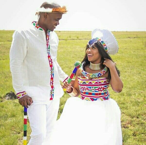 Bride And Groom In Modern Ndebele Traditional Wedding