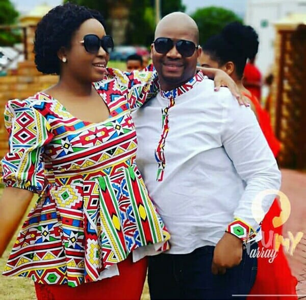 Couple In Modern Ndebele Inspired Outfit