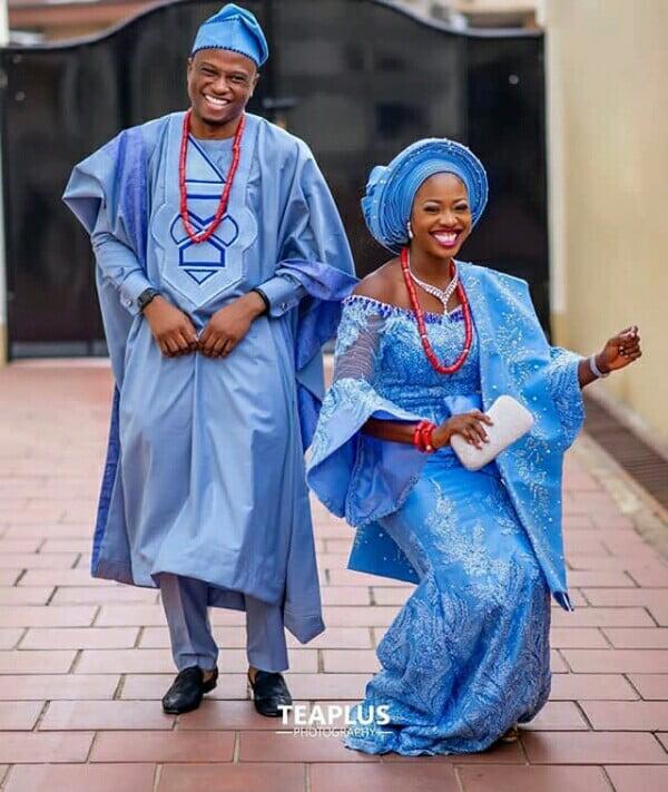 Yoruba Couple In Baby Blue Traditional Wedding Attire