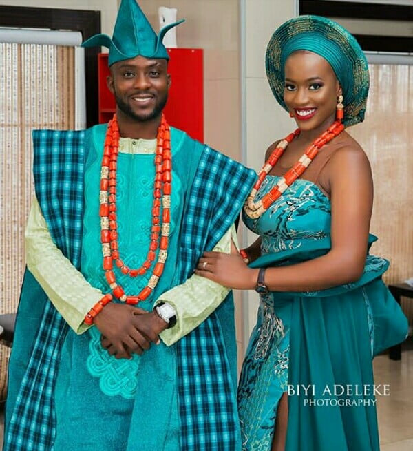 99bb983186c Embroidered Aso Oke Agbada With Fila Cap and Coral Beads ...