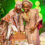 Yoruba couple in brown lace attire