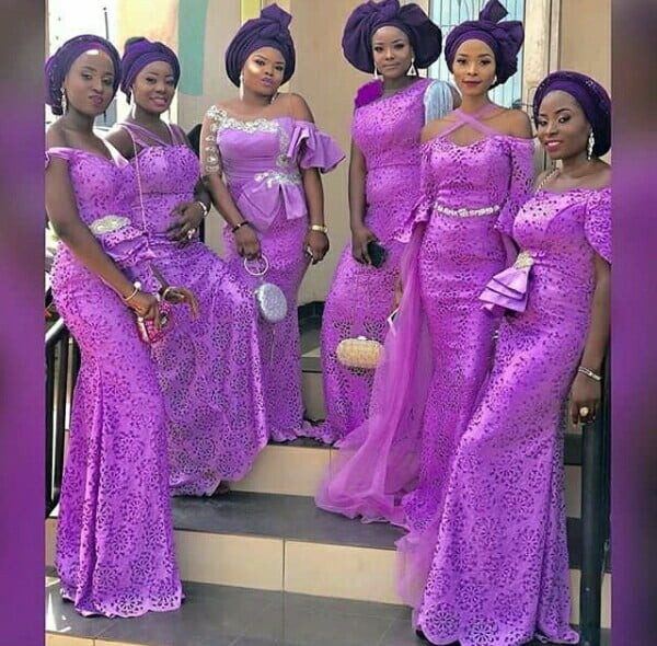 Bridesmaids In Purple Traditional Dresses For Yoruba