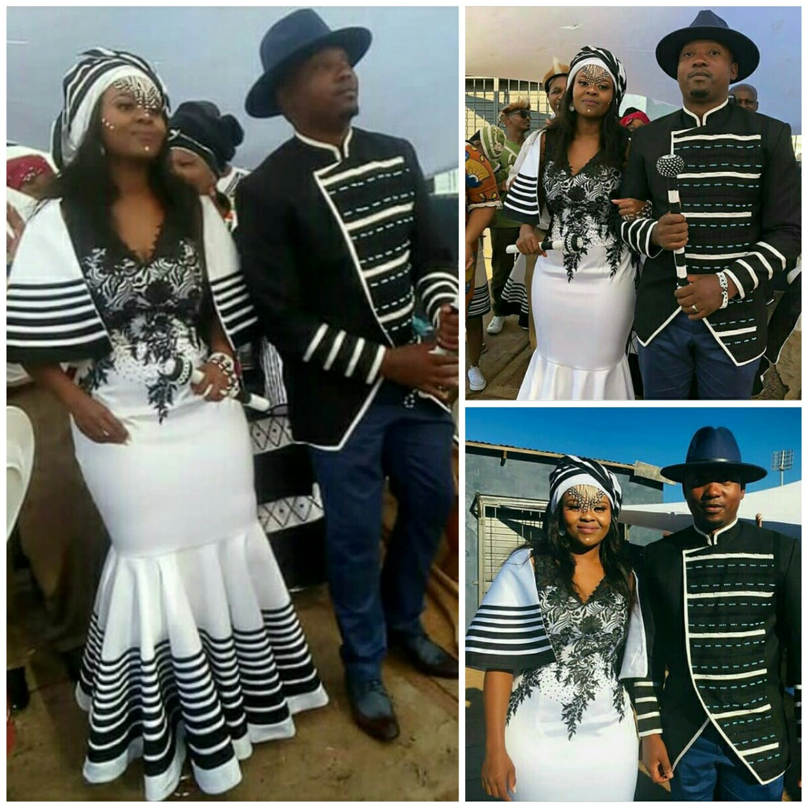 Couple In Xhosa Inspired Traditional Wedding Outfits