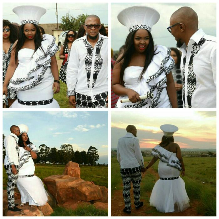 Bride and Groom In Modern Xhosa Traditional Wedding Clothes
