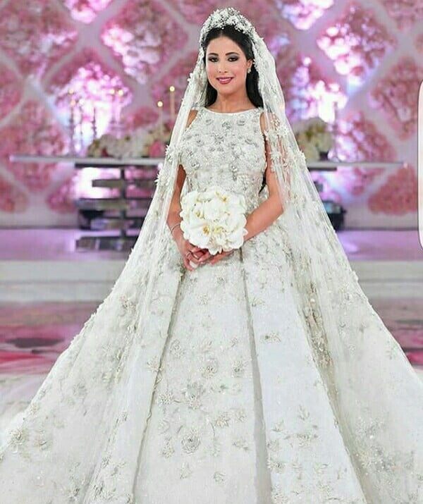 Egyptian Bride In White Embellished Wedding Gown With Veil