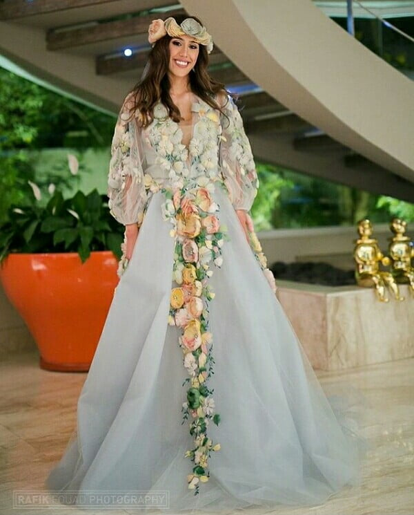 Beautiful Egyptian Bride In Rose Embellished Wedding Dress And Head