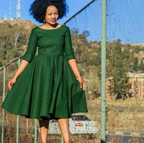 Simple Ready To Wear Green Shweshwe Dress Clipkulture