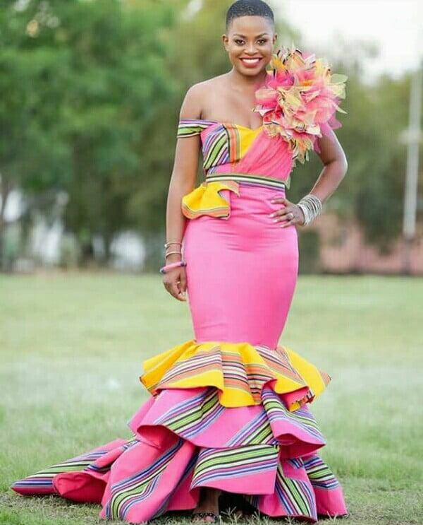 Bride In Pink Mermaid Off Shoulder Sepedi Traditional