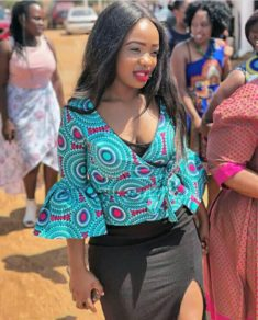 17110c4f892bcc Nana Ama McBrown in Off shoulder African Print Peplum Top and The ...