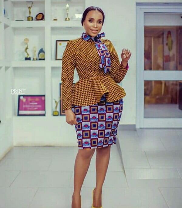 Benedicta Gafah In Beautiful African Print High Neck Peplum Top With Skirt  – Clipkulture