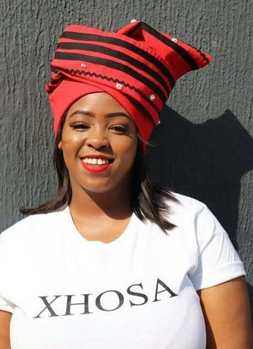 Red and black Xhosa Doek with Buttons